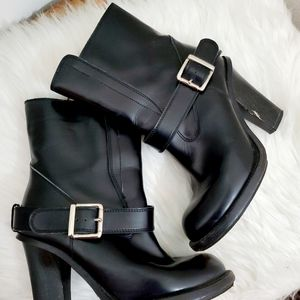 Chloe Leather Motorcycle Stacked  booties